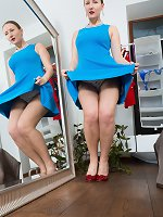 Solene Sol wears a new blue dress and masturbates